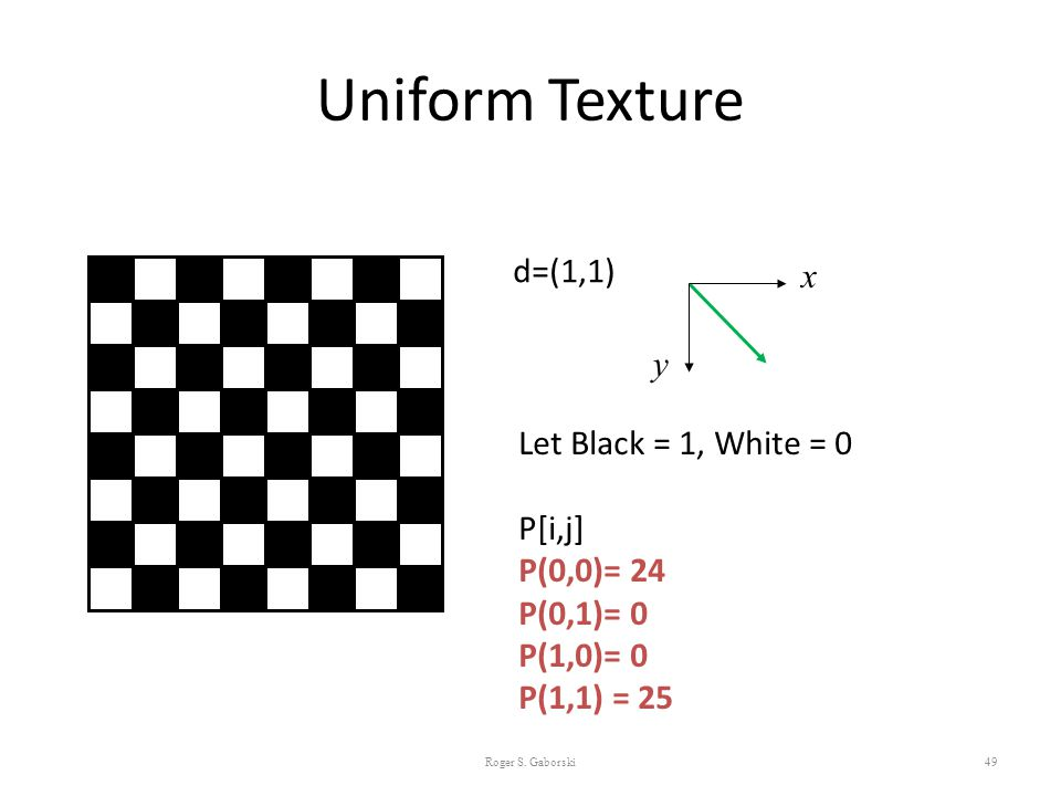 Uniform Texture d=(1,1) x y Let Black = 1, White = 0 P[i,j] P(0,0)= 24